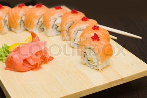 gourmet cuisine sushi with salmon japanese gourmet food stock photo