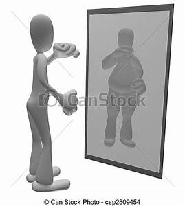 Drawing of Fat person looking in mirror - Thin cartoon ...