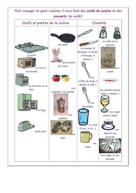 vocabulaire des ustensiles de cuisine vocabulaire des aliments de la nourriture et de la