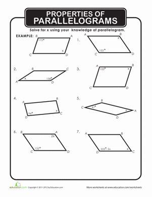 parallelograms worksheet geersc
