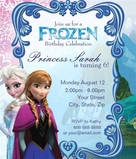 frozen invitation templates word psd ai