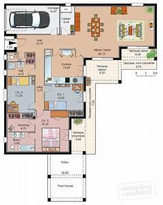 maison de plain pied avec trois chambres detail du plan With lovely plan de maison 120m2 14 plan maison trecobat maison moderne