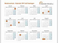 Feiertage 2017 Niedersachsen + Kalender