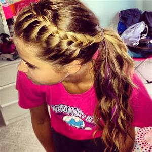 Easy hairstyle! French braid your bangs and pull back into ...