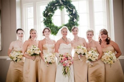Flowers To Go With Champagne Bridesmaids Dresses
