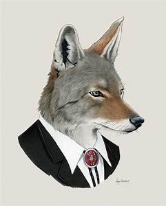 Coyote art print Animal art Nursery art by berkleyillustration