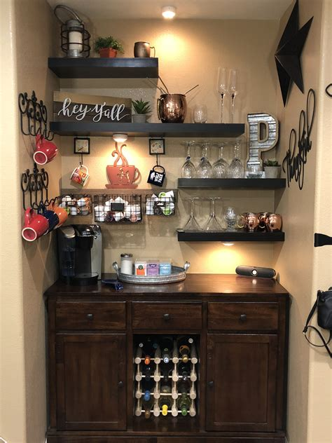 This console coffee bar/ wine bar is customizable according to your exact dimensions as well as your choice of finish to include paint and/or stain! Created my coffee/wine bar! So pleased how it turned out! #barfurnitureideashouses   Coffee bar ...