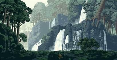 Pixel Landscape Rainforest Background Forest Nature Gifs