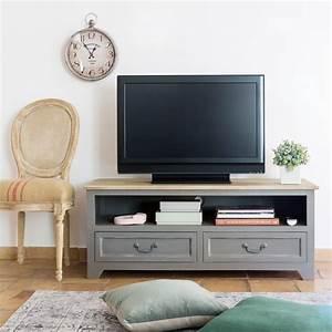 La Maison Möbel : tv m bel mit 2 schubladen aus kiefernholz grau wohnung ~ Watch28wear.com Haus und Dekorationen