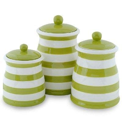 green canister sets kitchen green white stripe ceramic kitchen canister set