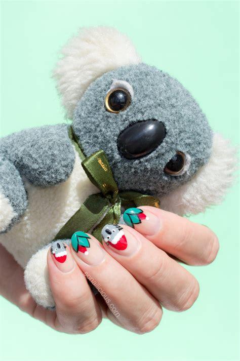 merry christmas  santa koala christmas nails