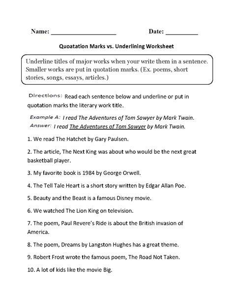 quotation marks vs underlining worksheets grammar