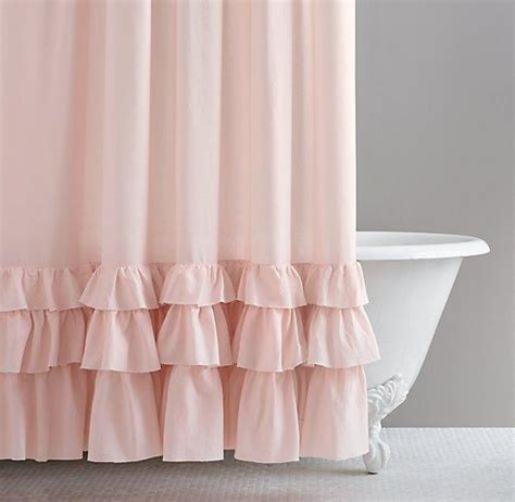 pink shower curtains frayed ruffle pink shower curtain