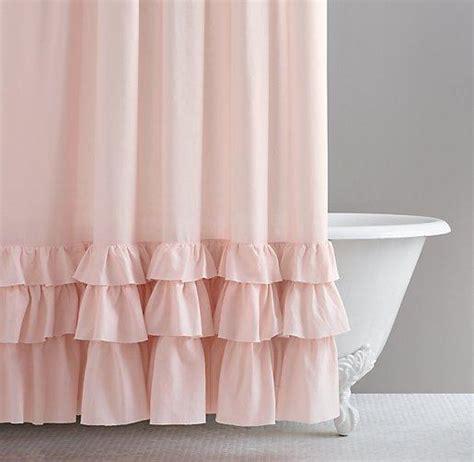 Frayed Ruffle Pink Shower Curtain