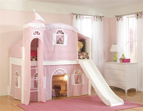 Castle Pink White Loft Bed For Girls With Slide And