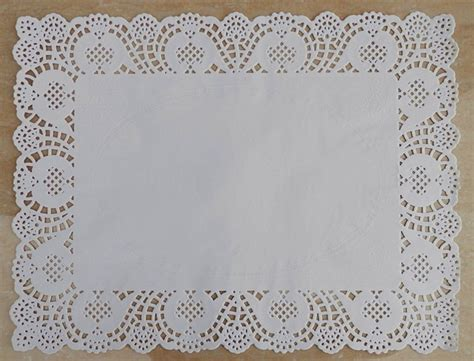 rectangle white lace grease proof paper