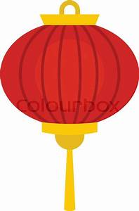 Red chinese lantern icon flat isolated on white background ...