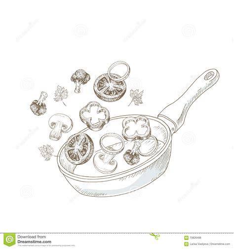 illustration cuisine wok cooking vegetable stock vector image 70826488