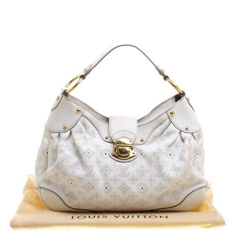 louis vuitton white monogram mahina leather solar pm bag  sale  stdibs