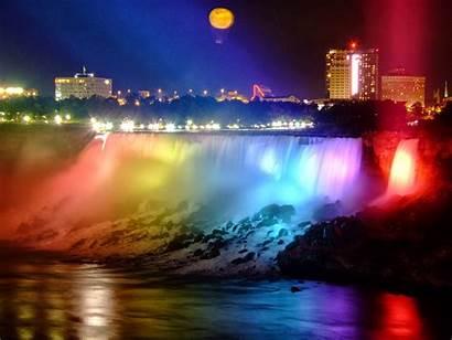 Niagara Falls Ontario Night Canada Lights Colorful
