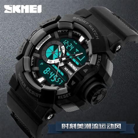 skmei jam tangan digital analog pria ad1117 gray