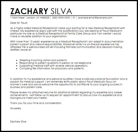 19713 receptionist cover letter reception cover letter receptionist cover