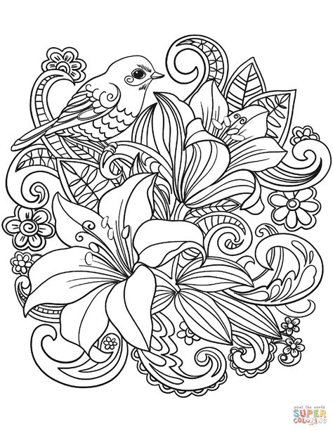 Skylark and Flowers coloring page Free Printable