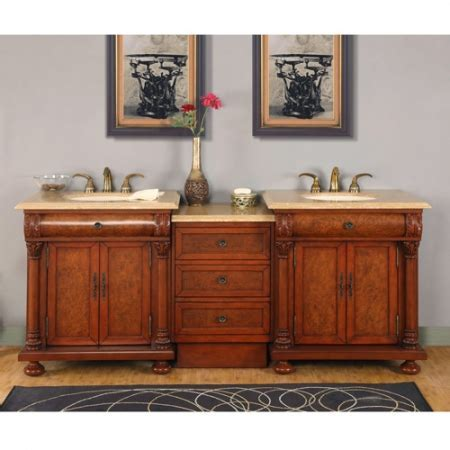82.5 Inch Light Brown Double Sink Vanity with LED Lighting