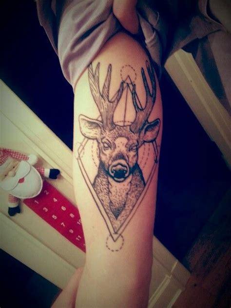 geometric deer tattoos