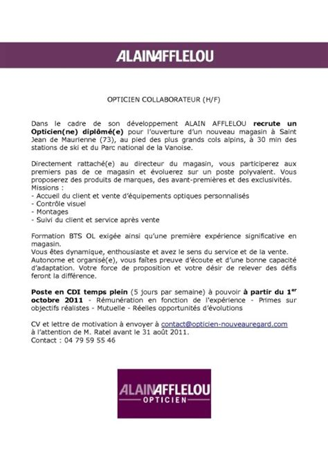 Créer Un Cv by Exemple Lettre De Motivation Opticien Application