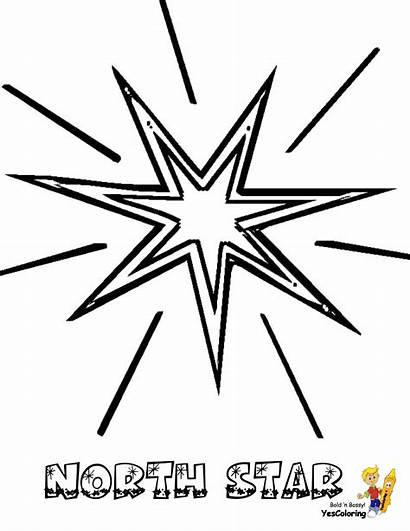 Coloring Star Pages Stars Christmas North Printable