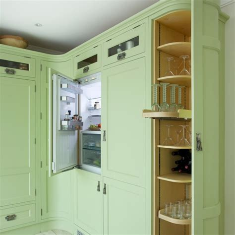 green kitchen cabinets uk green shaker kitchen with curved units housetohome co uk