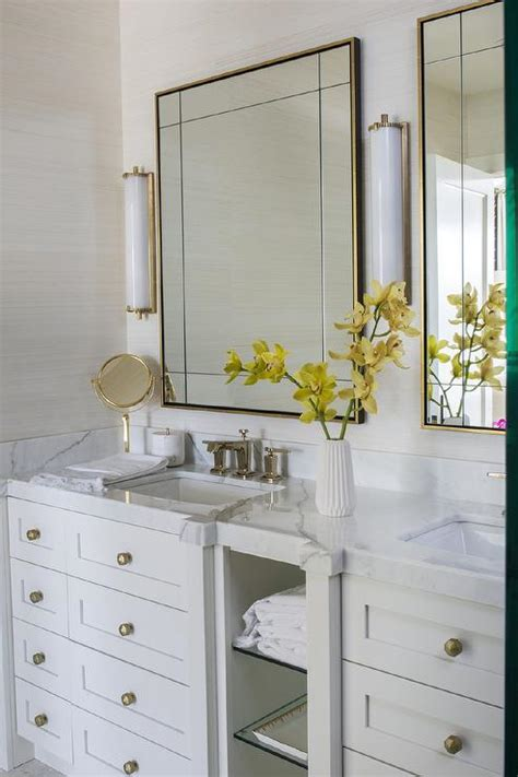 brass vanity mirror  calliope tall bath lights
