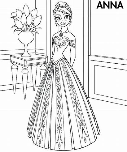 Coloring Pages Anna Princess Frozen Dresses Colouring
