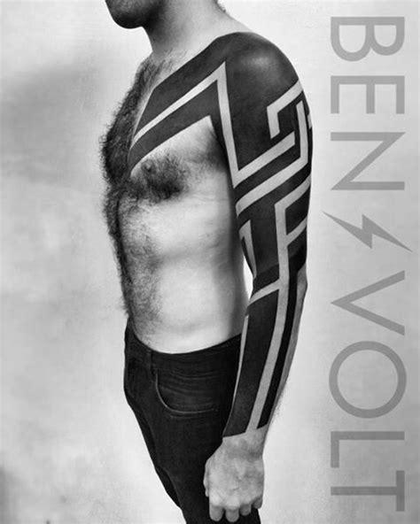 Ben Volt   Tribal chest tattoos, Black art tattoo