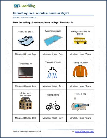 grade  math worksheet units  time  learning
