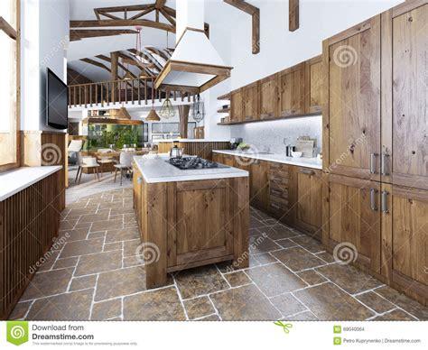 ile cuisine la grande cuisine dans le style de grenier avec une île au