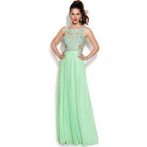 junior bridesmaid dresses macy s betsy adam sleeveless embellished cutout gown in green lyst