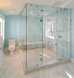Glass, Enclosed, Shower, Bathroom, Beach, Style, With, Half, Tiled