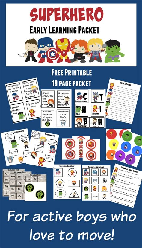 printable learning packet more excellent me 812 | Superhero 19 page active preschool packet