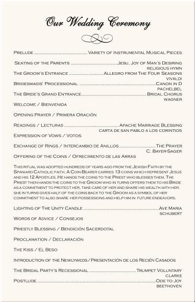 wedding program exles catholic wedding program wedding directories order of