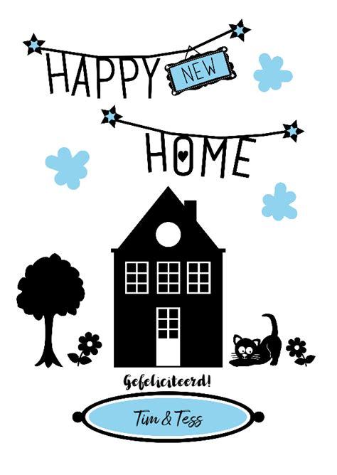 huis je boompje beestje happy new home zwart wit met huisje boompje kaartje2go