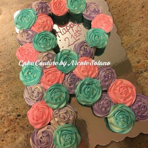 monogram letter shaped pull  cake    cupcakes cupcake cakes pull  cake