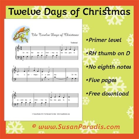 Twelve Days Of Christmas  Susan Paradis Piano Teaching Resources