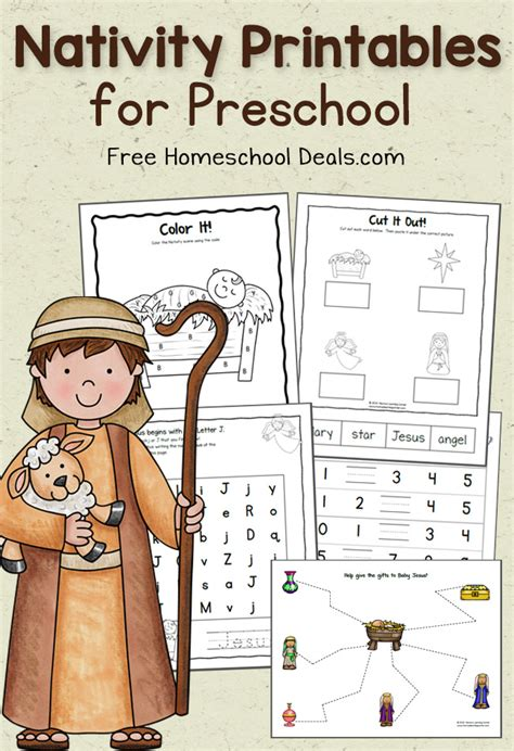 preschool nativity printables instant downloads