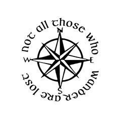 nautical compass decal     wander  lost