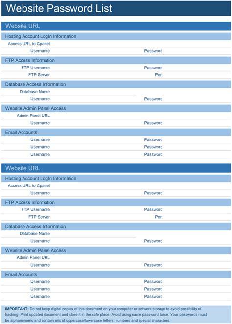 website password list template