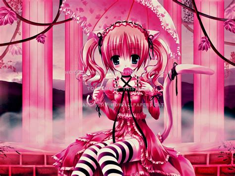 Candy Girl Pink Anime Abstract Bdw
