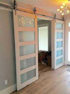 solid glass 3 paneled barn door living room pinterest With barn door to cover sliding glass door