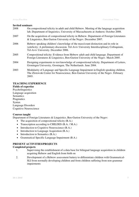 Linguist Resume by Academic Cv Exle